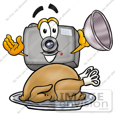 #23170 Clip Art Graphic of a Flash Camera Cartoon Character Serving a Thanksgiving Turkey on a Platter by toons4biz