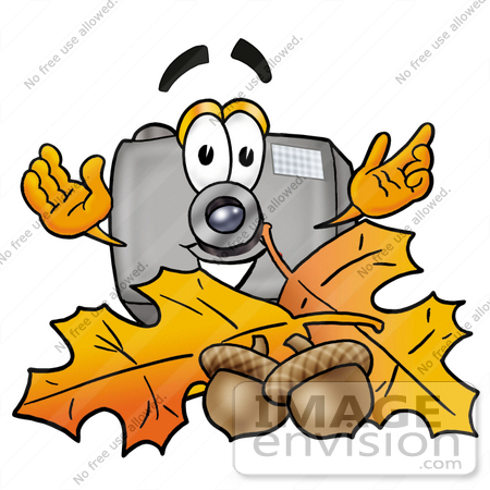 #23171 Clip Art Graphic of a Flash Camera Cartoon Character With Autumn Leaves and Acorns in the Fall by toons4biz