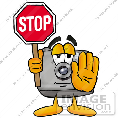 clip art graphic of a flash camera cartoon character holding a stop rh imageenvision com Photography Clip Art Old Camera Clip Art