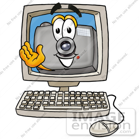 Clip Art Graphic of a Flash Camera Cartoon Character Waving From