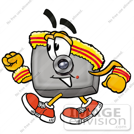 #23181 Clip Art Graphic of a Flash Camera Cartoon Character Speed Walking or Jogging by toons4biz