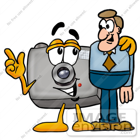 #23186 Clip Art Graphic of a Flash Camera Cartoon Character Talking to a Business Man by toons4biz