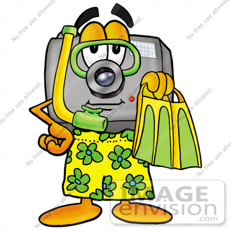 #23192 Clip Art Graphic of a Flash Camera Cartoon Character in Green and Yellow Snorkel Gear by toons4biz