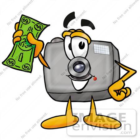 clip art graphic of a flash camera cartoon character holding a rh imageenvision com