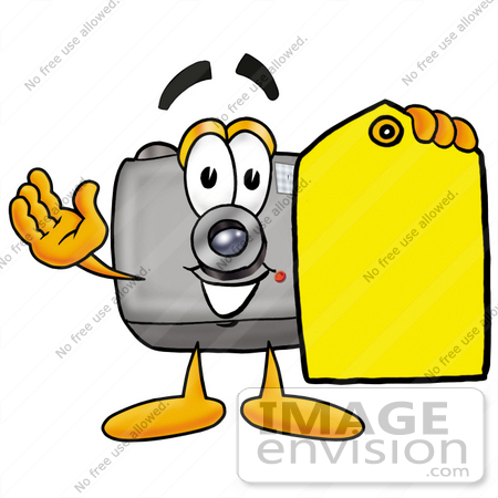 #23198 Clip Art Graphic of a Flash Camera Cartoon Character Holding a Yellow
