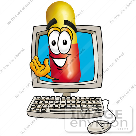 #23205 Clip Art Graphic of a Red and Yellow Pill Capsule Cartoon Character Waving From Inside a Computer Screen by toons4biz