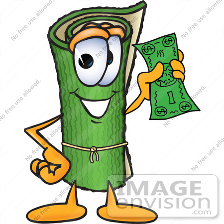 #23242 Clip Art Graphic of a Rolled Green Carpet Cartoon Character Holding a Dollar Bill by toons4biz