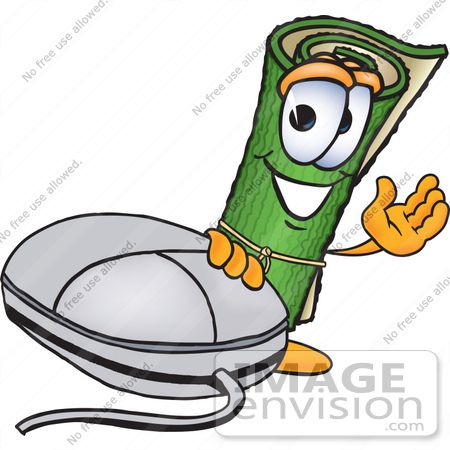 #23243 Clip Art Graphic of a Rolled Green Carpet Cartoon Character With a Computer Mouse by toons4biz