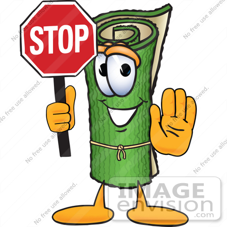 #23245 Clip Art Graphic of a Rolled Green Carpet Cartoon Character Holding a Stop Sign by toons4biz