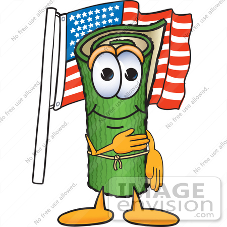 #23249 Clip Art Graphic of a Rolled Green Carpet Cartoon Character Pledging Allegiance to an American Flag by toons4biz