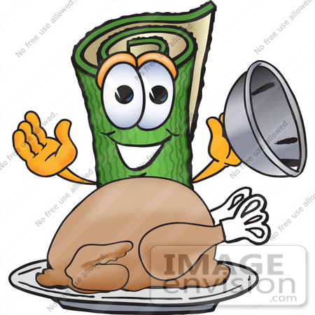 #23250 Clip Art Graphic of a Rolled Green Carpet Cartoon Character Serving a Thanksgiving Turkey on a Platter by toons4biz