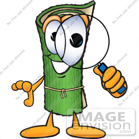 #23251 Clip Art Graphic of a Rolled Green Carpet Cartoon Character Looking Through a Magnifying Glass by toons4biz