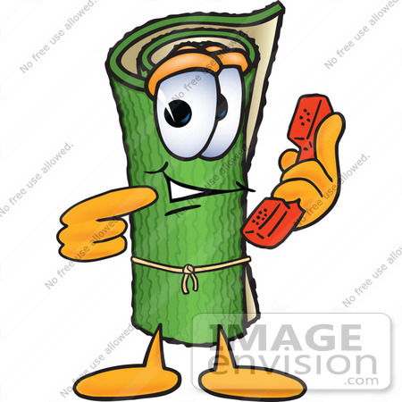#23253 Clip Art Graphic of a Rolled Green Carpet Cartoon Character Holding a Telephone by toons4biz
