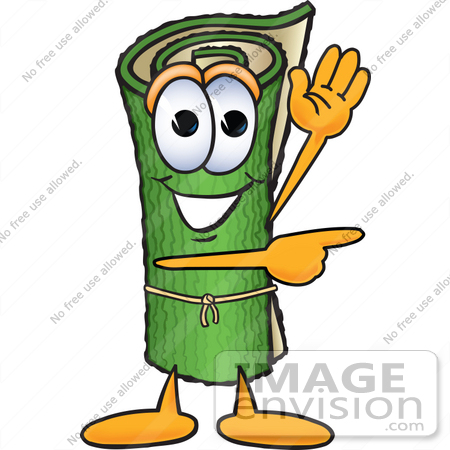 #23261 Clip Art Graphic of a Rolled Green Carpet Cartoon Character Waving and Pointing by toons4biz