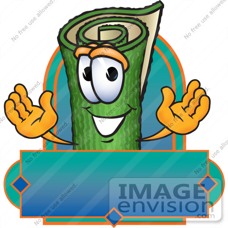 #23263 Clip Art Graphic of a Rolled Green Carpet Cartoon Character Label by toons4biz