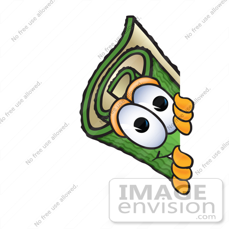 #23265 Clip Art Graphic of a Rolled Green Carpet Cartoon Character Peeking Around a Corner by toons4biz