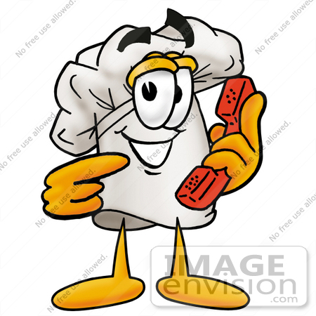 #23283 Clip Art Graphic of a White Chefs Hat Cartoon Character Holding a Telephone by toons4biz