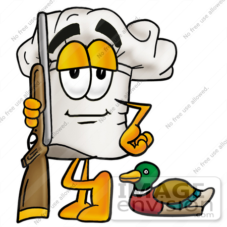 #23284 Clip Art Graphic of a White Chefs Hat Cartoon Character Duck Hunting, Standing With a Rifle and Duck by toons4biz