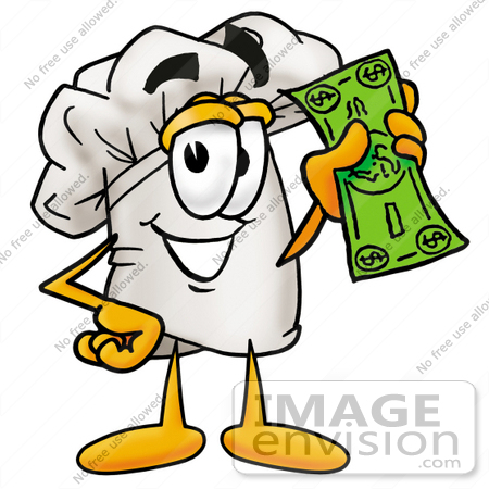 #23285 Clip Art Graphic of a White Chefs Hat Cartoon Character Holding a Dollar Bill by toons4biz