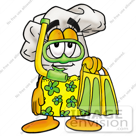 #23288 Clip Art Graphic of a White Chefs Hat Cartoon Character in Green and Yellow Snorkel Gear by toons4biz