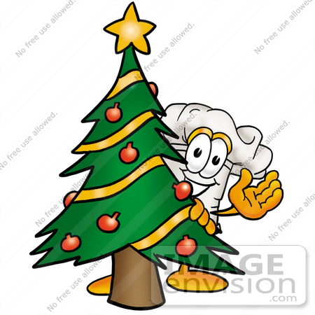 #23290 Clip Art Graphic of a White Chefs Hat Cartoon Character Waving and Standing by a Decorated Christmas Tree by toons4biz