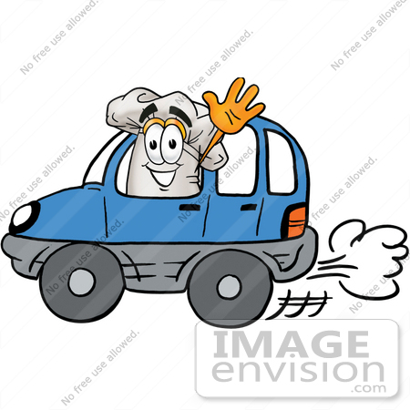 #23295 Clip Art Graphic of a White Chefs Hat Cartoon Character Driving a Blue Car and Waving by toons4biz