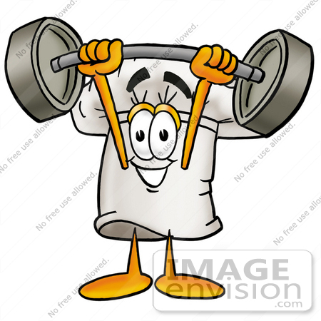 #23297 Clip Art Graphic of a White Chefs Hat Cartoon Character Holding a Heavy Barbell Above His Head by toons4biz