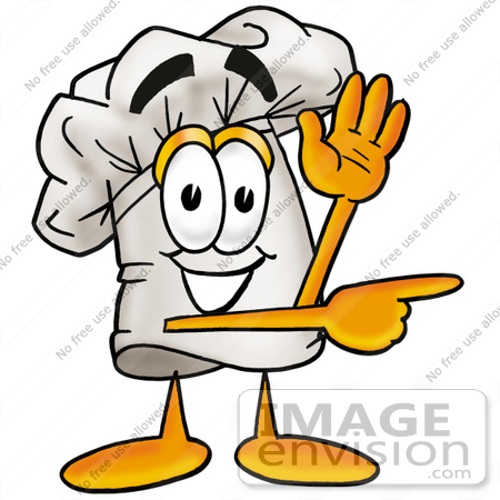 clip art graphic of a white chefs hat cartoon character waving and rh imageenvision com culinary arts clipart culinary clipart black and white