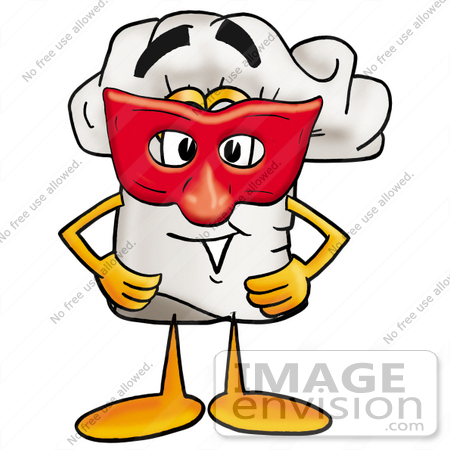 #23315 Clip Art Graphic of a White Chefs Hat Cartoon Character Wearing a Red Mask Over His Face by toons4biz