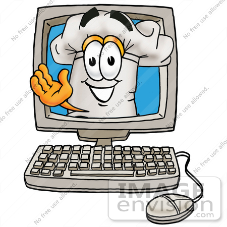 #23317 Clip Art Graphic of a White Chefs Hat Cartoon Character Waving From Inside a Computer Screen by toons4biz