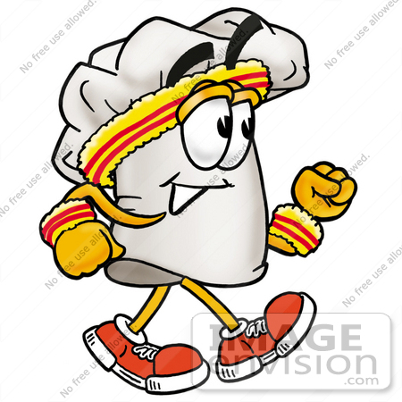 #23323 Clip Art Graphic of a White Chefs Hat Cartoon Character Speed Walking or Jogging by toons4biz