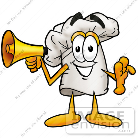 #23325 Clip Art Graphic of a White Chefs Hat Cartoon Character Holding a Megaphone by toons4biz