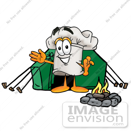 #23331 Clip Art Graphic of a White Chefs Hat Cartoon Character Camping With a Tent and Fire by toons4biz