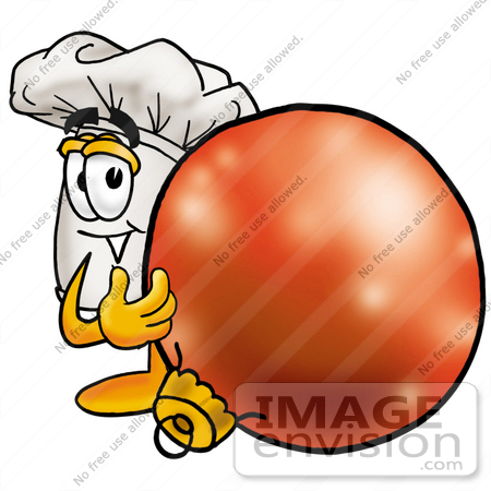 #23339 Clip Art Graphic of a White Chefs Hat Cartoon Character Standing With a Christmas Bauble by toons4biz