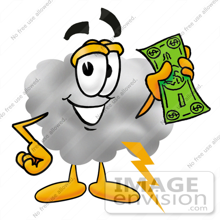 #23348 Clip Art Graphic of a Puffy White Cumulus Cloud Cartoon Character Holding a Dollar Bill by toons4biz