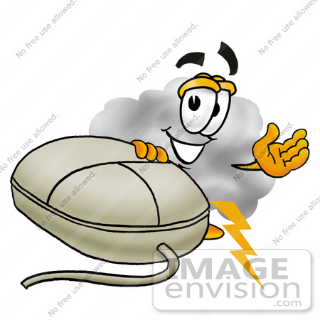 #23349 Clip Art Graphic of a Puffy White Cumulus Cloud Cartoon Character With a Computer Mouse by toons4biz