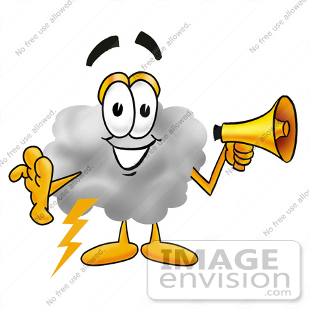 #23352 Clip Art Graphic of a Puffy White Cumulus Cloud Cartoon Character Holding a Megaphone by toons4biz