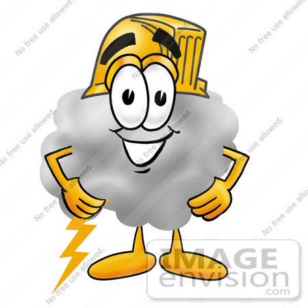 #23356 Clip Art Graphic of a Puffy White Cumulus Cloud Cartoon Character Wearing a Hardhat Helmet by toons4biz