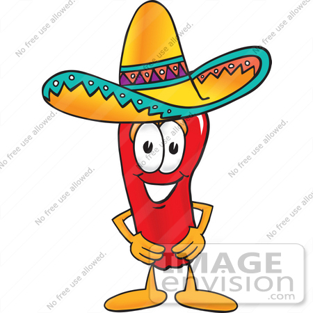 Clip Art Graphic of a Red Chilli Pepper Cartoon Character Wearing ...