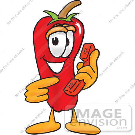 #23405 Clip Art Graphic of a Red Chilli Pepper Cartoon Character Holding a Telephone by toons4biz