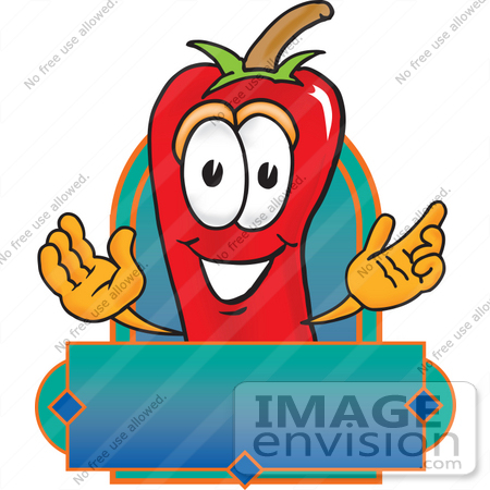 #23425 Clip Art Graphic of a Red Chilli Pepper Cartoon Character Label by toons4biz