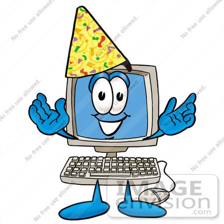 Clip Art Graphic of a Desktop Computer Cartoon Character Wearing a