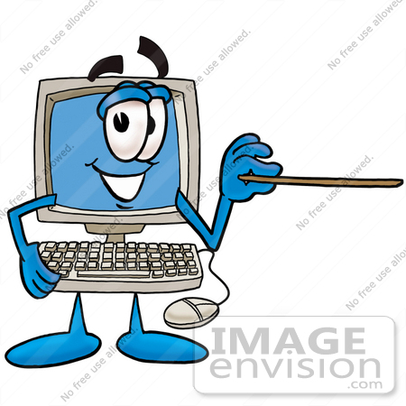 #23465 Clip Art Graphic of a Desktop Computer Cartoon Character Holding a Pointer Stick by toons4biz
