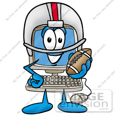 #23469 Clip Art Graphic of a Desktop Computer Cartoon Character in a Helmet, Holding a Football by toons4biz