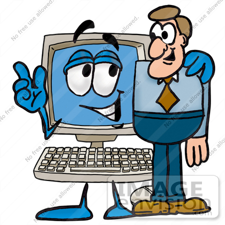 #23480 Clip Art Graphic of a Desktop Computer Cartoon Character Talking to a Business Man by toons4biz