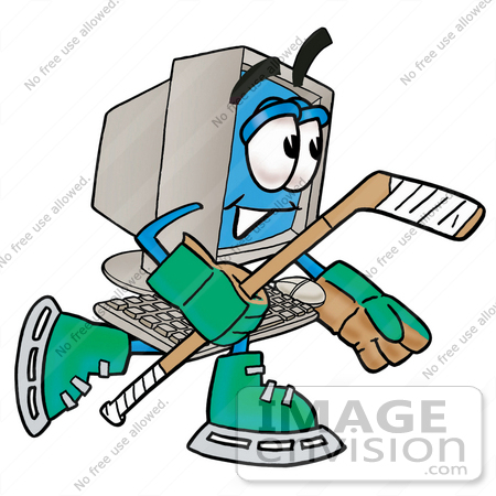 #23499 Clip Art Graphic of a Desktop Computer Cartoon Character Playing Ice Hockey by toons4biz
