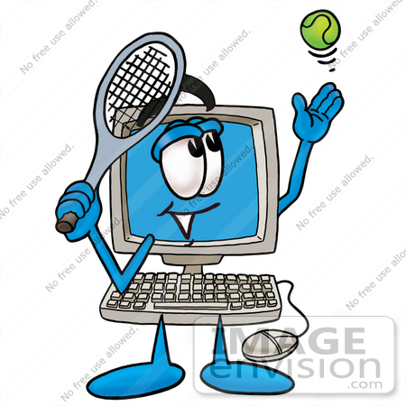 #23500 Clip Art Graphic of a Desktop Computer Cartoon Character Preparing to Hit a Tennis Ball by toons4biz