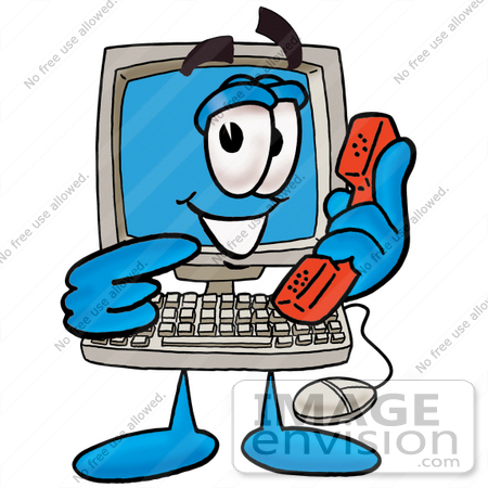 #23501 Clip Art Graphic of a Desktop Computer Cartoon Character Holding a Telephone by toons4biz