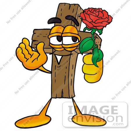 #23510 Clip Art Graphic of a Wooden Cross Cartoon Character Holding a Red Rose on Valentines Day by toons4biz
