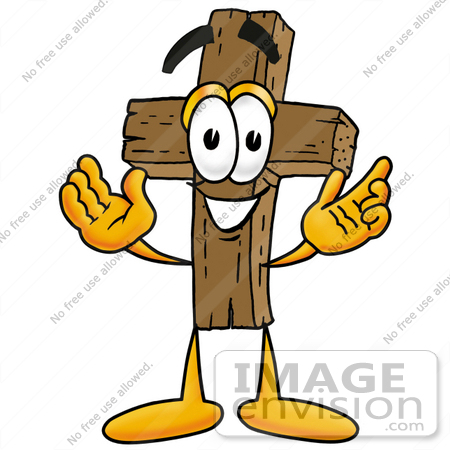 #23538 Clip Art Graphic of a Wooden Cross Cartoon Character With Welcoming Open Arms by toons4biz